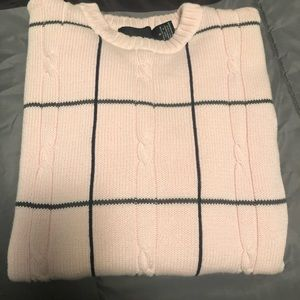 Pink and navy crew neck sweater by Bill Blass